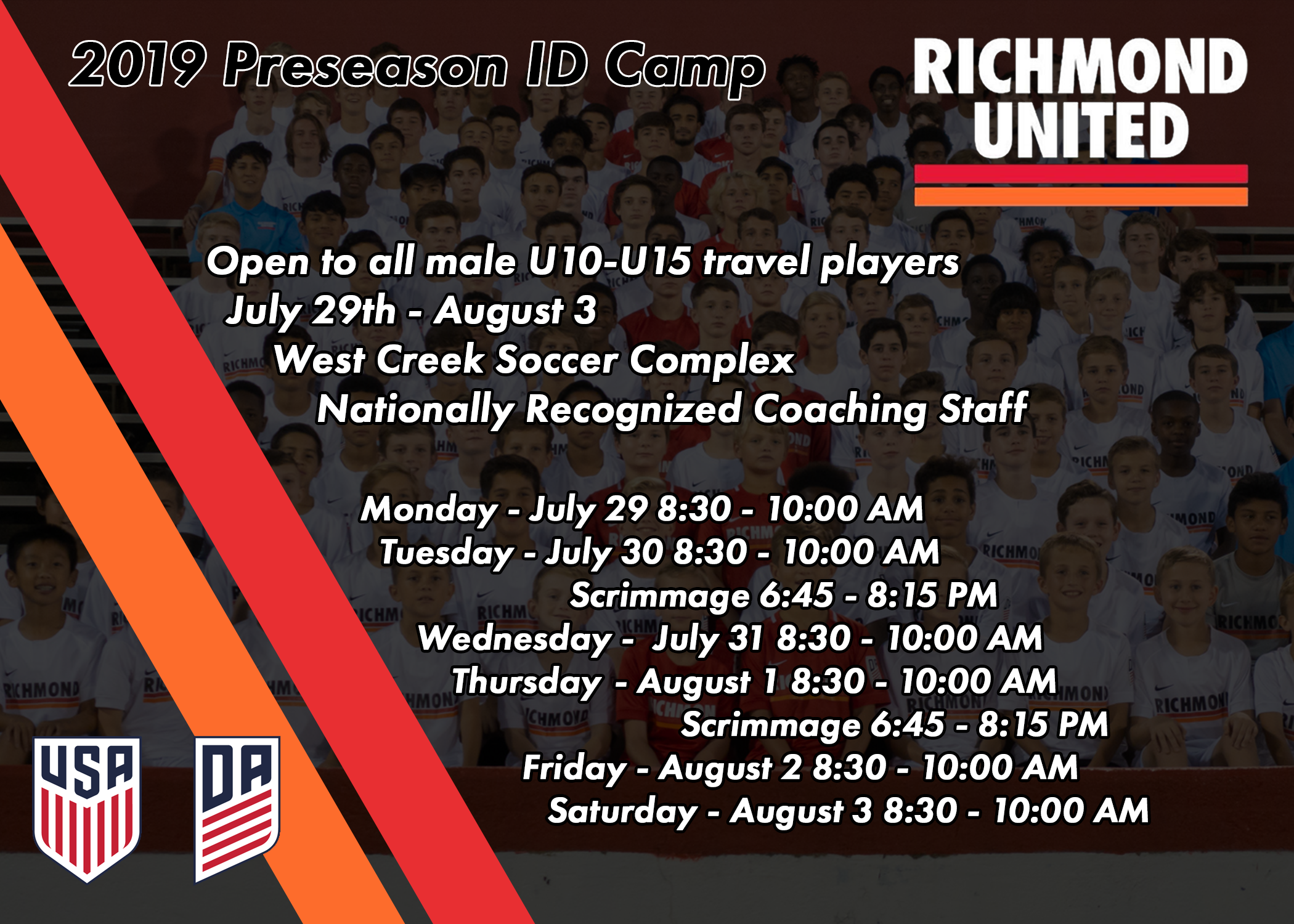 RICHMOND UNITED ANNOUNCES PRESEASON ID CAMP